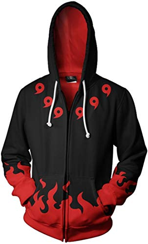 bettydom Men's Zip Jackets Hoodies with The Japanese Anime Naruto Autumn Outerwear Athletic Jackets(US Size 4XL(Tag 5XL),Comma R&B-1)