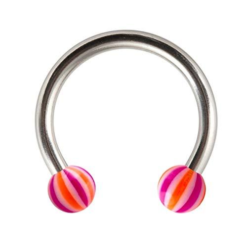 VOTREPIERCING Piercing Herradura Tragus/Labio/Labret Acrílico Beach-Ball Naranja/Púrpura 1.2 x 12 x 3 mm