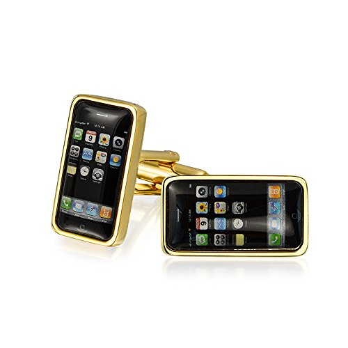 Black Cell Smart Phone Texting Addict Cufflinks for Men Shirt Cuff Links Hinge Back Gold Plated Brass Steel Enamel