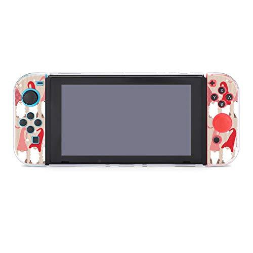 Funda protectora de PC antiarañazos para Nintendo Switch compatible con mandos Joy-Con Split de 5 piezas, funda delgada para consola de juegos, saludo de vacaciones Gnome Friends