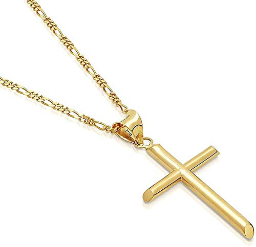 14K Gold Figaro link Chain Cross Pendant Necklace Solid Clasp for Men,Women, boys, Teens 5MM 14ct Thin for Charms Miami Cuban Link Diamond Cut Fashion jewelry (24)