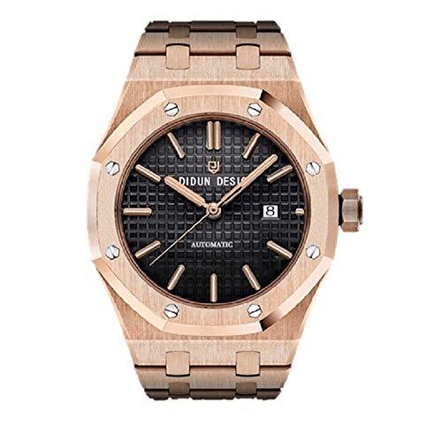 Sportlich Elegante Herren Automatik Uhr, Saphirglas, Miyota Uhrwerk, Didun Royal One Gold/Schwarz