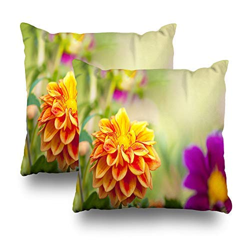 GFGKKGJFD Dahlia Blossom - Juego de 2 fundas de cojín de jardín para sofá, adolescentes, 18 x 18 cm, diseño de flores, color verde