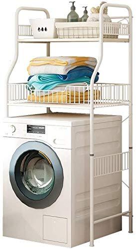 Lavandería bastidores Capa 2 - baño de Metal bastidores práctica - de Almacenamiento de lavandería Estante baño común - Estante de Almacenamiento - Negro - Blanco,White