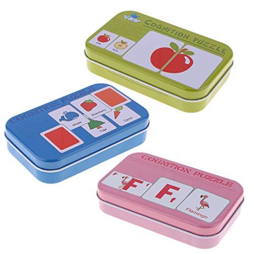 B Baosity 3 Schachteln Tier, Form, Gemüse und Obst Bildkarten Puzzlekarte zur Sprachförderung für Baby und Kinder, Anti-Riss