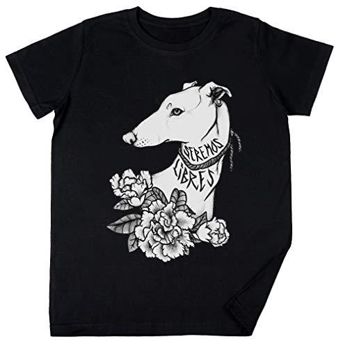 Vendax Seremos Libres - Greyhound Bambini Ragazzi Ragazze Unisex Maglietta Nero