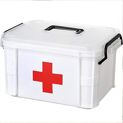Transparente InterDesign Med Caja para Guardar medicamentos en Altura Organizador de Armario botiqu/ín en pl/ástico con Asas