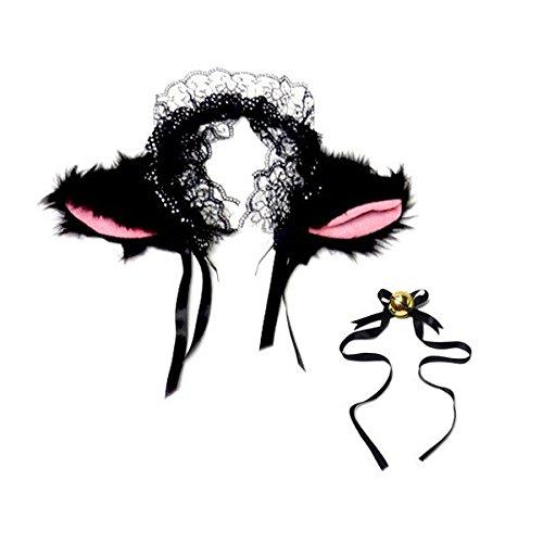 ROSENICE Niedlich Katzenohren Stirnbänder Cosplay Headwear mit kleinen Bell(schwarz)