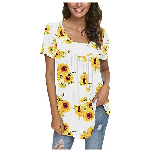 Qinshi Damen Sommer Bluse Hemd Frauen O-Ausschnitt Bedruckt Plissiert Flie?end Tunika-Oberteil Kurzen ?rmeln Oberteile Tunika