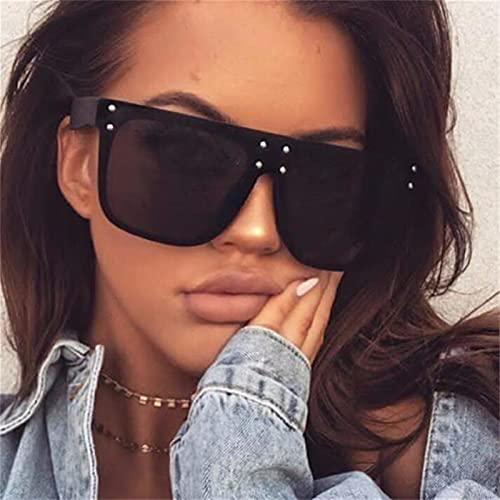 FDNFG Gafas de Sol Gafas de Gran tamaño para Hombre Square Gafas de Sol Moda Fashion Rivet Gafas Negras Gafas de Sol (Lenses Color : C3 Leopard Tea)
