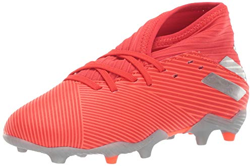 adidas Unisex-Kid's Nemeziz 19.3 Firm Ground Soccer Shoe, Active Red/Silver Metallic/Solar Red, 4 M US Big Kid