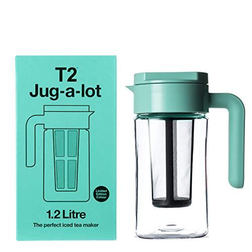 Jarra de té helado T2 Tea Jug-A-Lot, sin BPA, con infusor extraíble, 1,2 L, color azul