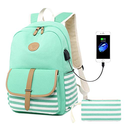 Lmeison Charging Backpack for Teen Girls, College Stripe Bookbag with Pencil Case for Women, Canvas Travel Daypack Waterproof Laptop Bag Fits 15.6' Laptop, Green