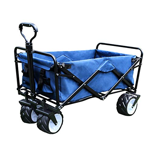Gardzen Folding Collapsible Utility Wagon Cart  Blue