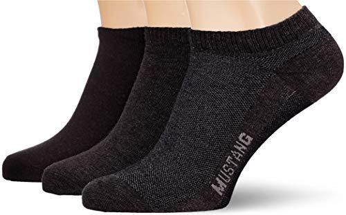 Mustang Socks Herren MU33008 Füßlinge, Schwarz (Black 9999), 43/46 (3er Pack)
