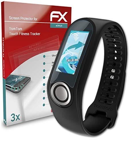 atFoliX Película Protectora Compatible con Tomtom Touch Fitness Tracker Protector Película, Ultra Claro y Flexible FX Lámina Protectora de Pantalla (3X)
