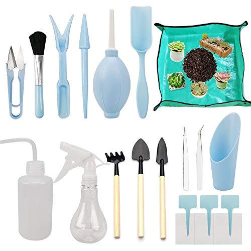 Augoog 17 Stück Mini Pflanzen Werkzeug Set,Mini Garten Handwerkzeug Set für Gärten und Topfpflanze