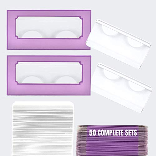 NEW-Empty Lash Boxes for Wholesale- 100 Pcs - 50 Trays/50 Empty Eyelashes Box Packaging- Soft Paper Lash Box Holographic Design for 25MM 3D Mink Strip Lashes (Purple/Lavender)