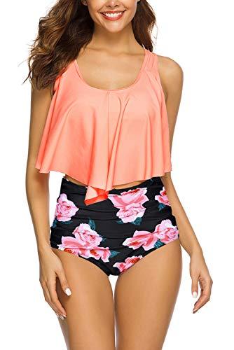 Women High Waisted Swimsuit Flounce Swimwear Racerback Vintage Two Piece Bikini (Orange Flower,S)