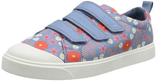 Clarks Mädchen City Vibe K Sneaker, Blue Floral Canvas,31 EU