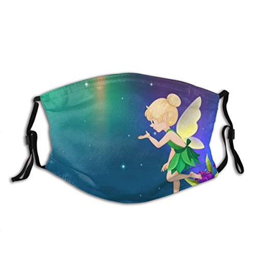Masks,Face Cover Cute Fairy Flying in Garden at Night Balaclava Unisex Reusable Windproof Anti-Dust Mouth Bandanas Outdoor Camping Motorcycle Running Neck Gaiter with 2 Filters for Teen Men Women