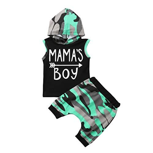 Neugeborene Jungen Kapuzen-Shorts Set, Sommer Gentleman Fashion Camouflage Print Kurzarm Top + Shorts Hosen Sommer Outfits 2-teiliges Set (6-12 Monate, Schwarz)