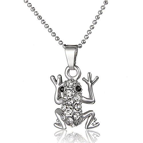 Small Island Chapado en Oro Blanco diseño de Diamantes de Cristal de Little Corto Collar con Colgante en Forma de Rana 45,72 cm (Bolsa Regalo de Organza Incluido).