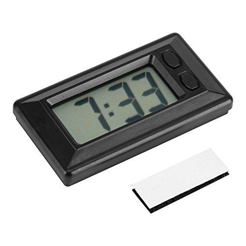 GLOGLOW Tragbare Uhr LCD Digital Tisch Auto Armaturenbrett Schreibtisch Elektronische Uhr Datum Zeit Kalender Display Dashboard mit Klebepad