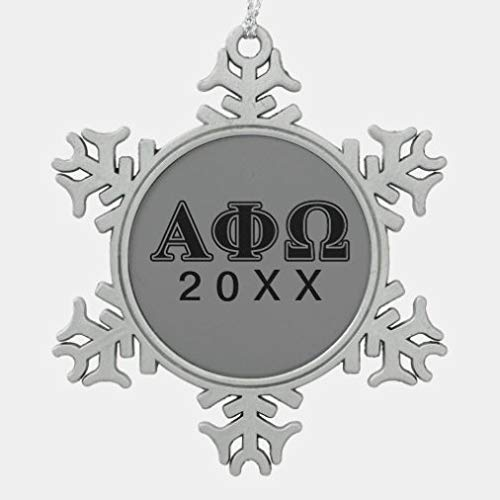 onepicebest Christmas Ornaments,Metal Snowflake Ornament Alpha Phi Omega Black Letters Snowflake Pewter Christmas Ornament XMAS Gifts Presents, Holiday Tree Decoration Stocking Stuffer Gift