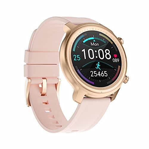 Smartwatch,1.3 Pulgadas Pantalla TáCtil Completo Smartwatch, Reloj Inteligente con OxíGeno SanguíNeo PresióN Arterial Frecuencia CardíAca, Pulsera Impermeable Ip67 para iOS Android,Rosado