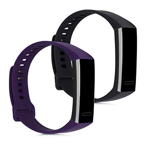 kwmobile 2X Brazalete Compatible con Huawei Band 2 / Band 2 Pro - Pulsera de Silicona Violeta/Negro sin Fitness Tracker