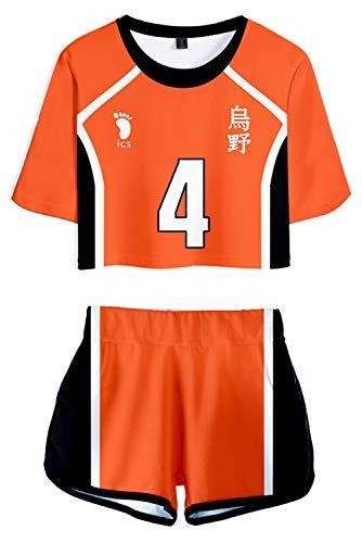 beckyring Damen Nishinoya Yuu Kostüm Karasuno High School Uniform Anime Cheerleader Trikot Gr. Medium, Orange