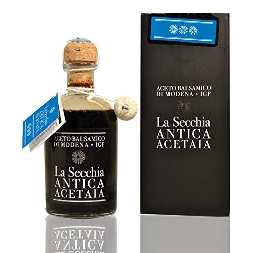 """La Secchia - Vinagre Balsámico de Módena I.G.P. """"Tres Estrellas"""" Envejecido en 12 Barricas de Cerezo y Morera - Densidad Media - Botella 250 ml con Tapón Dosificador de Corcho."""