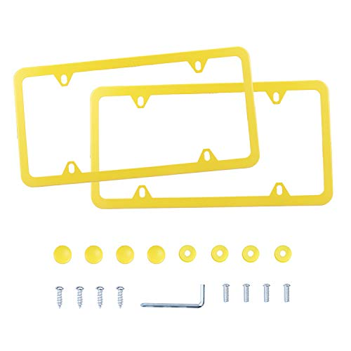 LivTee 4 Holes Stainless Steel License Plate Frames, 2 PCS Car Licence Plate Covers Slim Design with Bolts Washer Caps for US Vehicles, Yellow