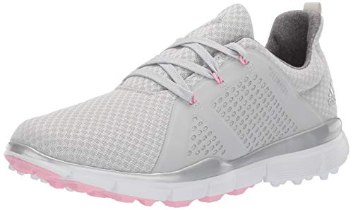 adidas Women's Climacool CAGE Golf Shoe, Grey one/Silver Metallic/True Pink, 8 M US