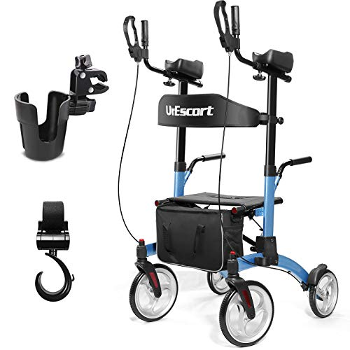 UrEscort Upright Rollator Walkers with Seat, Folding Stand Up Walker for Seniors, Adults, Aluminum Tall Upright Rolling Walkers with Large Wheels, Armrests, Handrails and Cup Holder