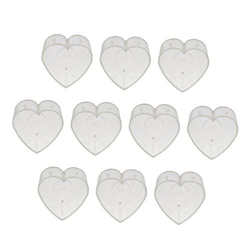 10er Pack Teelichthüllen leer Hüllen Licht Leere Fall Dosen Behälter Kerze - Herz 4x2cm