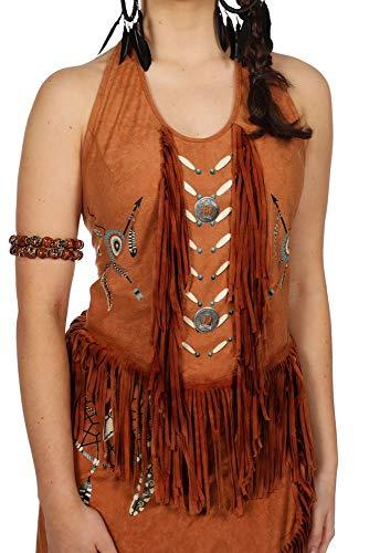 shoperama Top con flecos, espalda descubierta, aspecto de ante, disfraz de india Squaw para mujer, atrapasueos, carnaval, color: marrn claro