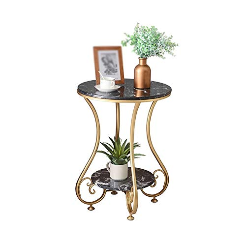 BZ-ZK Mesa auxiliar nórdica, mesa redonda de mármol, sala de estar, oficina, sofá, mesa, decoración de 2 capas, 50 x 50 x 63 cm (tamaño: 50 x 50 x 63 cm, color: negro)