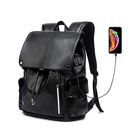 Business Travel Backpack, KISSUN PU Leather Laptop Backpack with USB Charging Port for Men Womens, Anti-Theft Water Resistant College School Bookbag Computer Backpack Fits 15.6 Inch Laptop & Notebook