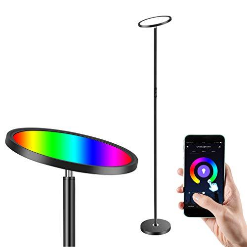 Anten Lampada LED da Terra Dimmerabile da 25W, Illuminazione Smart WIFI RGB Moderna, Vari Tipi di Temperature di Colore e Luminosità, Compatibile con Alexa, Google e APP, per la Casa o Ufficio, Nera