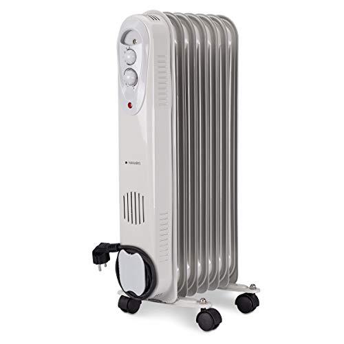 Navaris Radiatore Elettrico - Termosifone a Olio Mobile - Cavo Avvolgibile - Scaldino a 4 Ruote e 7 Elementi Regolabile a 3 Livelli - Bianco