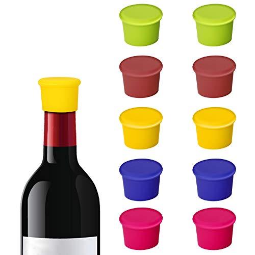 Bolatus - Tapón de silicona para botellas de vino, reutilizable, 10 unidades, tapón para botellas de vino, tapas de cerveza, protector de cerveza, sellador, para vino, cerveza, champán, 5 colores