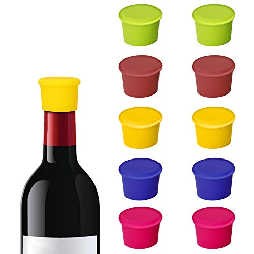 Bolatus 10 tapones para botella de vino, tapones de silicona, tapón reutilizable para...