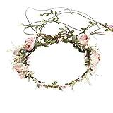 XKMY Guirnalda de flores para novia, para mujer, con estilo, corona para fiesta, novia, boda, playa, accesorio para el pelo femenino (color rosa claro)