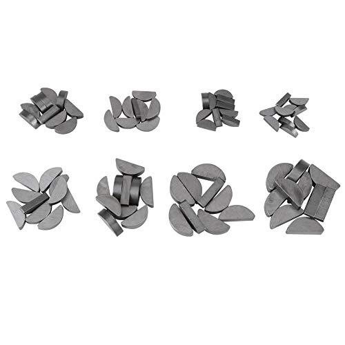 SANON 80Pcs Metall Woodruff Keys Sortiment Kit Halbmond Zahnrad Wellenantrieb Set Verschiedene Größen Verbindungselemente Mechanische Industrie