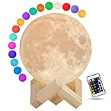 Moon Lamp, 3D Printing 16 Colors Moon Night Light Decor for Bedroom, Dimmable Cool Light with Stand and Remote Control, Cute Gifts for Kids Women Friends Family Holiday Decor (4.7 in)
