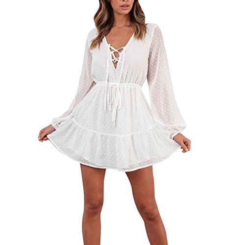 TUDUZ Elegant Damen Sommerkleid Strandkleid Rundkragen 3/4-Arm Boho Strand Kurzes Minikleid Partykleid Tunika Blusen Shirt Kleid (Weiß-A, XL)