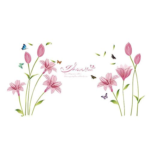 Dessin animé animaux Stickers muraux Stickers muraux Home Decor pour bébé garçons filles enfants Chambre à coucher Décoration de cuisine Romantic Pink Lily Flowers Butterflies
