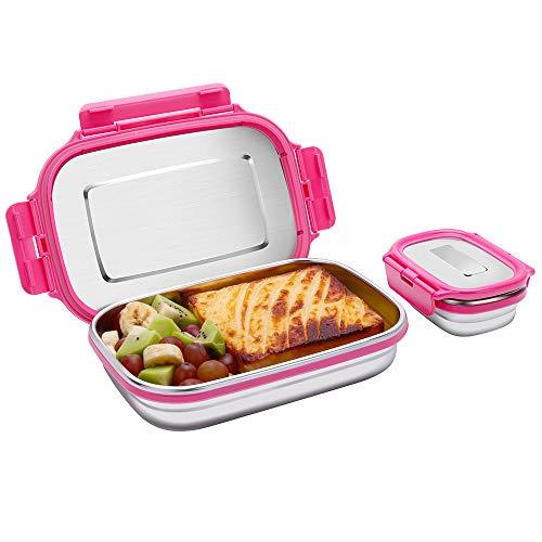 *Edelstahl Brotdosen Set, Auslaufsichere Bento Lunch Box mit Kleine Snack Behälter für Kinder und Erwachsene, 2er Set Metall Lebensmittel Salat Container (Rosa, 950ml+180ml)*
